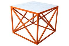 """Double X 18"""" Marble Side Table, Orange Made of: frame, electrostatic powder-coated steel; top, Carrara marble Size: 18""""W x 18""""D x 16""""H"""