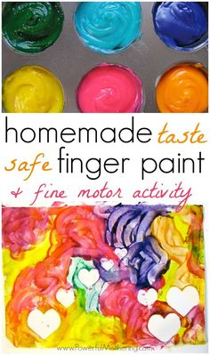 (TASTE SAFE) Homemade Finger Paint Recipe with Fine Motor Activity from PowerfulMothering.com Painting With Toddlers, Crafts With Toddlers, Crafts With Baby, Painting For Kids, Toddler Crafts, Infant Crafts, Crafts For Kids, Projects For Kids, Art Projects