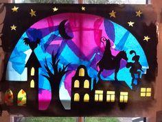 Sinterklaas raam. Gemaakt door Sofie en mama