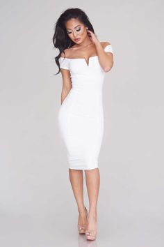 Off-The-Shoulder Midi Dress - White - Dresses - Clothing