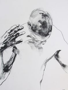 "Expressive Male Figure Drawing - 18 x24"", fine art - Drawing 122 - charcoal on paper - original drawing by Derek Overfield Art"