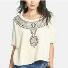 *HP 3/25!! * *$ale!* Free people avalon top  NWT **Downtown chic.host pick!!** I believe the style namr is called avalon Embroidered design stiching thru sleeve and side hem. Can wear on or off shoulder. So cute! Color snow. Xs oversize roomy   Still more expensive in store! Free People Tops