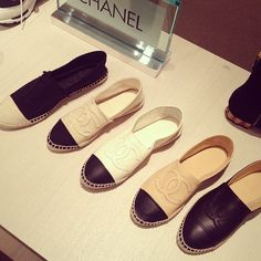 Chanel espadrilles--love the canvas with frayed CCs in beige with a black cap toe!