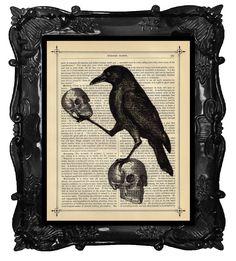 Halloween Crow with Skulls art - Halloween Raven home decor poster art - spooky skull wall art print with crow by BlackBaroque on Etsy https://www.etsy.com/listing/202427476/halloween-crow-with-skulls-art-halloween