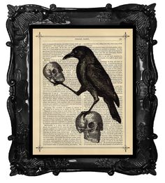 Halloween Crow with Skulls art - Halloween Raven home decor poster art - spooky skull wall art print with crow by BlackBaroque on Etsy https://www.etsy.com/listing/202427476/halloween-crow-with-skulls-art-halloween