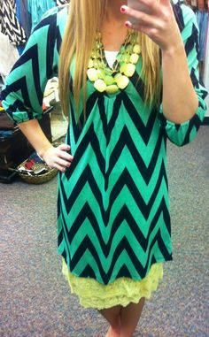 Spring chevron dress layered with our yellow skirt extender! So cute and comfy. Www.sexymodest.com