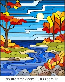 Illustration of Illustration in stained glass style with a rocky Creek in the background of the Sunny sky, lake, trees and fields,autumn landscape. vector art, clipart and stock vectors. Stained Glass Quilt, Stained Glass Designs, Stained Glass Patterns, Broken Glass Art, Sea Glass Art, Broken Mirror, L'art Du Vitrail, Tree Art, Mosaic Art
