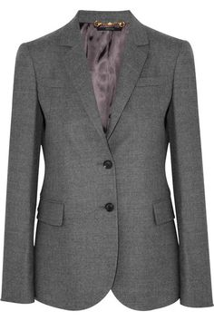 Gray wool-blend Padded shoulders, buttoned cuffs, three pockets, fully lined Button fastenings at front 95% wool, 4% cashmere, 1% elastane; lining: 75% acetate, 25% polyester Dry clean