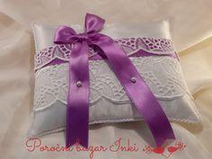 purple lace wedding ring pillow