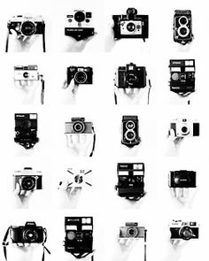 Black and white camera collage (old, vintage, retro, antique, photo, camera, photography)