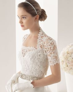 Rosa Clara - 2014 Bridal Collection - 165 / MIRANDA Mikado and guipure dress and belt with beading in a natural colour.  765 – Guipure jacket in a natural colour.  71G02 - Ribbed leather gloves, short, natural colour.