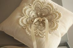Wedding Ring Pillow NU Ivory by EnrichbyMillie on Etsy