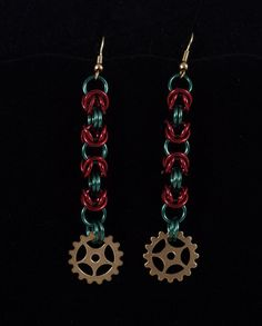 Red and Green Byzantine Steampunk Chainmaille Holiday by ChainPunk