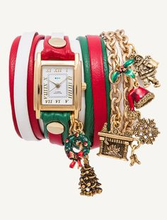 Gold Square Case w/ white Dial. Red/White and Green/Red Multi Mix-Up Layer Leather strap w/ gold rivets. Christmas Charms!