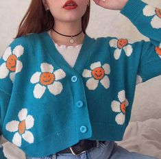 Smiley Sun Flower Blue Knit Sweater Cardigan Source by yeetmyselfoff outfits Aesthetic Fashion, Aesthetic Clothes, Look Fashion, Korean Fashion, Aesthetic Sweaters, Quirky Fashion, Blue Aesthetic, 90s Fashion, Retro Fashion