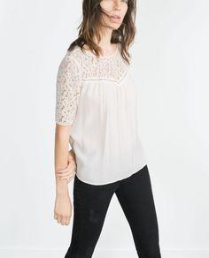 Moda otoño invierno 2015-2016 para mujer - Blusas y camisetas blusa guipur zara