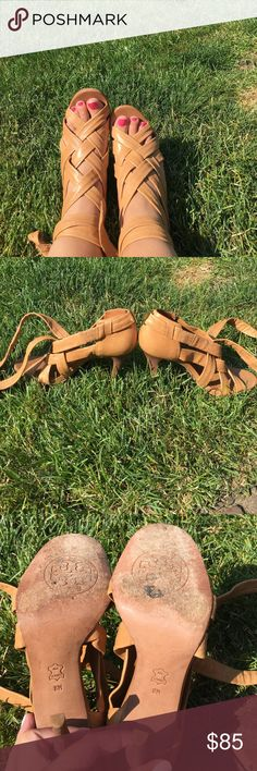 Tory Burch lace up heels Tan leather Tory Burch leather lace up heels! Size 8. Worn a few times. Perfect for summer! The front leather is very adjustable and can accommodate more of a wide foot since the leather lacing can be done a little tighter or looser depending on the foot! Tory Burch Shoes Heels