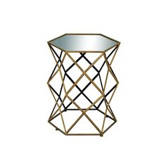 Très chic! Make a statement with this geometric, iron and mirror accent table. Geo Side Table | Weekends Only Furniture and Mattress