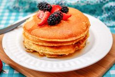 This dairy-free pancake recipe produces fluffy flapjacks every time, and it's sure to please dairy-free kids and lactose-free adults alike.
