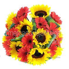 Girasoles con Gerberas Rojas| Envia Flores