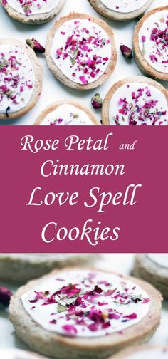 Love Spell Cinnamon & Rose Petal Cookies - Moody Moons (learn to do flood icing) Just Desserts, Delicious Desserts, Yummy Food, Cinnamon Love, Cinnamon Recipe, Cinnamon Cookies, Macarons, Cookie Recipes, Dessert Recipes