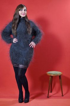 Thick Sweaters, Sweaters For Women, Sexy Dresses, Short Dresses, Gros Pull Mohair, Big Wool, Angora, Mohair Sweater, Jumpers