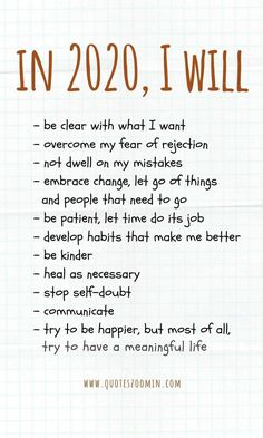 New Year's Quotes 2020 : QUOTATION – Image : Quotes Of the day – Life Quote New year resolutions bullet journal In I will – be clear with what I wan Vie Positive, Positive Affirmations, Positive Quotes, Motivational Quotes, Inspirational Quotes, Year Quotes, Quotes About New Year, 2015 Quotes, Quotes Quotes