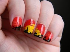 Lion King Disney Nail Art. Makes me think of one of Lindsey Wood's canvases!