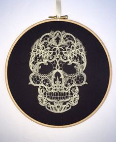 Cream lace skull embroidery hoop art ivory by StitchesOfAnarchy