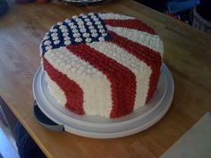 July Cake Saw this cake on this site and loved the design. I didn't get the stripes quite right, I should have traced them all out. Fourth Of July Cakes, 4th Of July Desserts, 4th Of July Party, Cake Truffles, Cake Cookies, Mini Cakes, Cupcake Cakes, Cupcake Ideas, Flag Cake