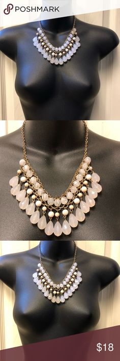 Blush/baby pink resin tear drop fashion necklace Used in good condition. Statement fashion necklace in blush or baby pink color that you can wear day or night at any season. Worn only three times and got lots of compliments ☺️ * a great neutral piece to wear with most of your clothes and elevates the look of even a simple t-shirt.  * adjustable to wear shorter or longer as shown in the pictures.  * lobster claw clasp Jewelry Necklaces