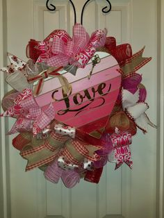 Love Valentine wreath with mesh and burlap by Wreaths on Wadsworth Lane