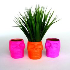 Skull Planters Ceramic Neon Pink Orange Purple by sewZinski