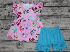 Girls Pink Vintage Camper Outfit Blue Icing Shorts Boutique Set Summer 6M-6 NEW #MyCutiePye #DressyEverydayHoliday