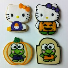 16 Hello Kitty Cookies For Halloween – Top Easy Design For Party Decor Project - Easy Idea Halloween Cookies, Holiday Cookies, Frog Cookies, Hello Kitty Cookies, Hello Kitty Halloween, Fall Halloween, Halloween Foods, Cookie Decorating, Decorating Tips