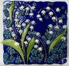 Who made this stunning Lily of the Valley glass wall tile? Fused Glass Plates, Fused Glass Art, Stained Glass Art, Mosaic Glass, Mosaic Tiles, Wall Tiles, Mosaics, Ceramic Tile Art, Azulejos Art Nouveau