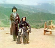 Sergey Prokudin-Gorsky / Library of Congress   Dagestani couple posed outdoors for a portrait. Taken in 1904.
