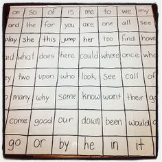 Shower curtain sight word game from Teach on a Limb blog. I love how simple this idea is. Children throw an object like a beanbag, poker chip etc. on any word, if they can read it, they keep it.