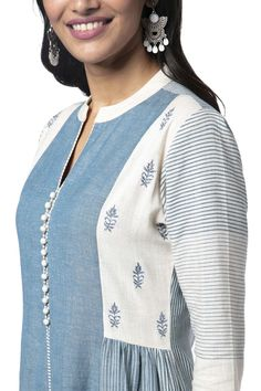 Soch Light Blue Cotton Embroidery Kurti - SAMR KT 41009