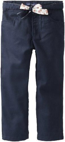 U.S. Polo Assn. School Uniform Little Girls' Brushed Twill Pant with Reversible Belt Navy 5