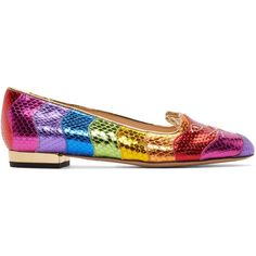 Charlotte Olympia Multicolor Metallic Rainbow Kitty Flats ($480) ❤ liked on Polyvore featuring shoes, flats, multicolor, embroidered flat shoes, flat shoes, metallic gold shoes, multi color flats and round toe flats