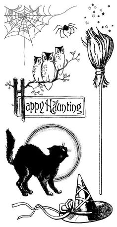 Happy Haunting Cling Stamps 1! Perfect for your Halloween creations! #graphic45