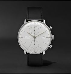 JunghansMax Bill Chronograph Stainless Steel and Leather Watch