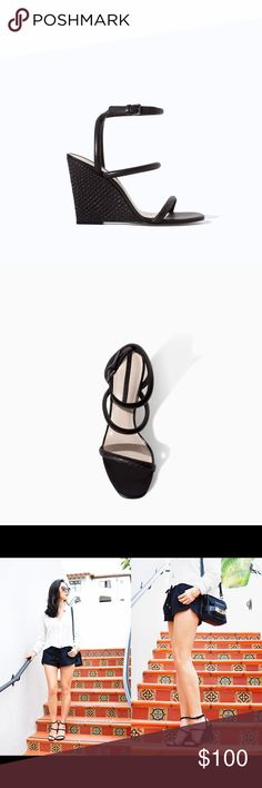 """Leather Wedges Leather wedges with straps from Zara. Heel height is 4"""" with no platform. Worn once and still in like new condition! Will come with box! Fits true to size. Size 6.5, Euro 37 Zara Shoes Wedges"""