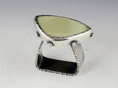 Ring | Michelle Grady.  Sterling silver and green jasper