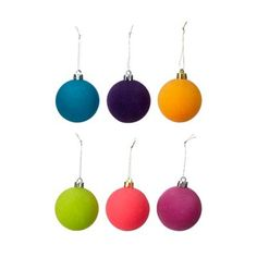 In a contemporary flocked design, these assorted baubles add a bright and colourful touch to the Christmas tree this festive season. Christmas Baubles, Christmas Decorations, Debenhams, Flocking, Drop Earrings, Contemporary, Color, Design, Christmas Ornaments
