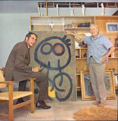Der Fotograf und der Maler: Josep Planas i Montanyà (links) war mit dem Maler Joan Miró (rechts) befreundet. Beide waren gebürtige Katalanen und Wahl-Mallorquiner. Hier ein Foto aus dem Atelier von Miró in Cala Major, wo er ab 1956 lebte.