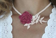 Raspberry Rose Crocheted Necklace with Baby by mygiantstrawberry