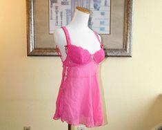 Victoria/'s Secret Bridal Off-WHITE SATIN and Chiffon Camisole Long Bra NIGHTY Nightie Nightgown Underwear Lingerie 34B