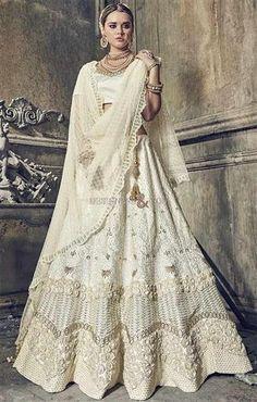edb782bf92a Get This Chic  Cream  Embroidered  Lehenga  Choli In Satin With Net Half